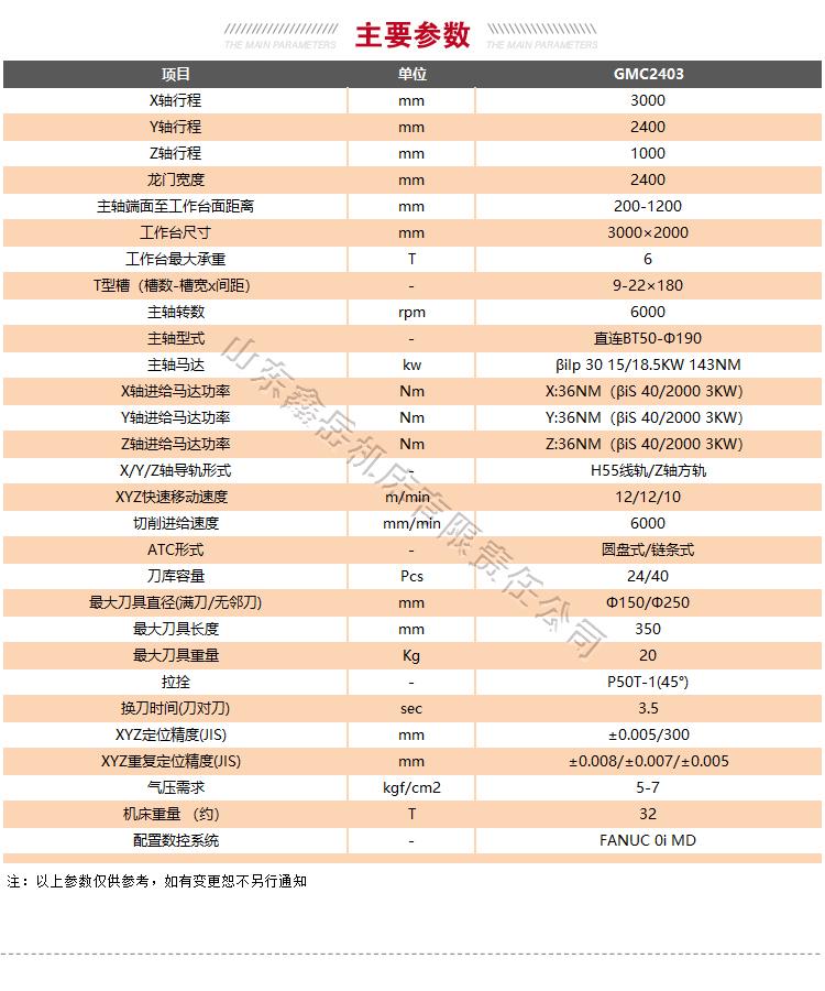GMC2403龙门加工中心技术参数