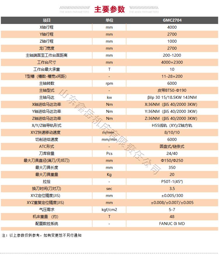 GMC2704龙门加工中心技术参数