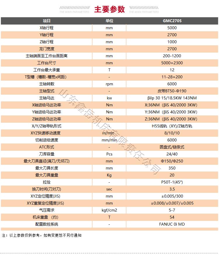 GMC2705龙门加工中心技术参数