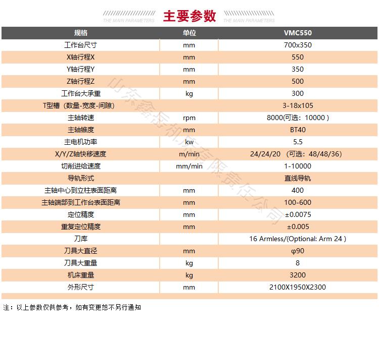 VMC550龙门加工中心技术参数