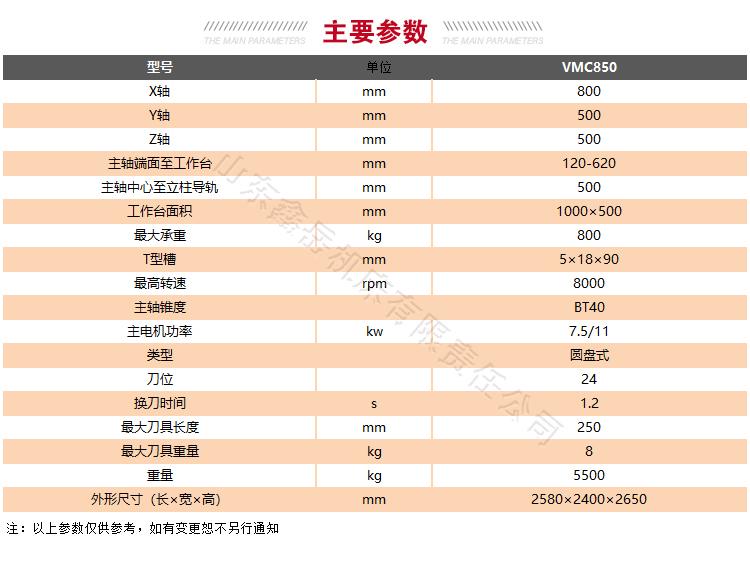 VMC850龙门加工中心技术参数